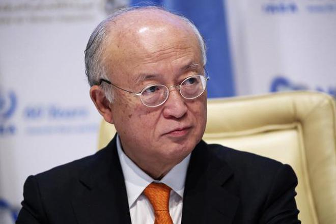 Yukiya Amano, the head of the International Atomic Energy Agency, speaks at a news conference in Abu Dhabi, United Arab Emirates in this Oct. 30, 2017 file photo.