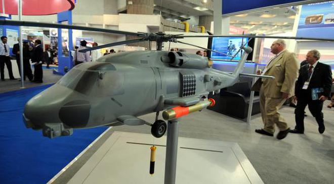 A scale model of the MH-60R Seahawk Multi Mission Helicopter at the Defexpo10—6th Interntional Land and Naval Defence Systems Exhibition at Pragati Maidan in New Delhi on February 16, 2010.