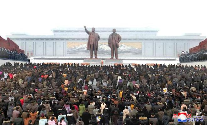 In this December 17, 2018 file photo, People attend a ceremony to mark the 7th death anniversary of late North Korean leader Kim Jong Il at Mansu Hill in Pyongyang, North Korea in this picture released by North Korea's Korean Central News Agency (KCNA).