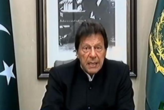 Pakistan Prime Minister Imran Khan addresses the nation on February 19, 2019. Photo: Twitter/@PTIofficial