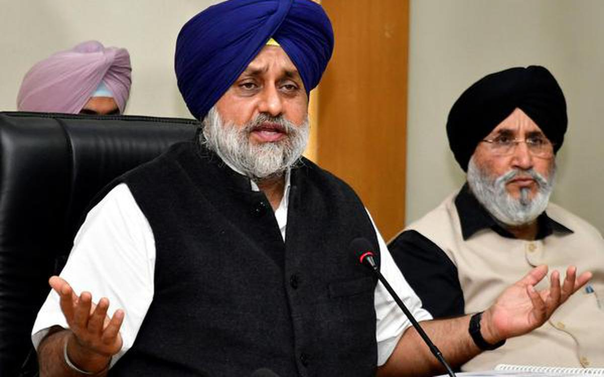 BJP-led Central government repeating blunders of Congress: Sukhbir Singh  Badal - The Hindu