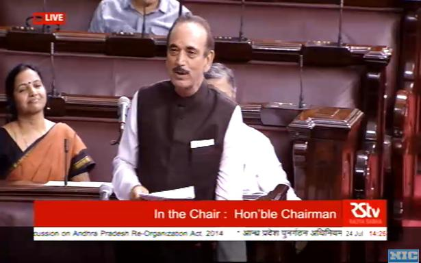 Leader of Opposition Ghlam Nabi Azad speaks during special discussion on Andhra Pradesh.