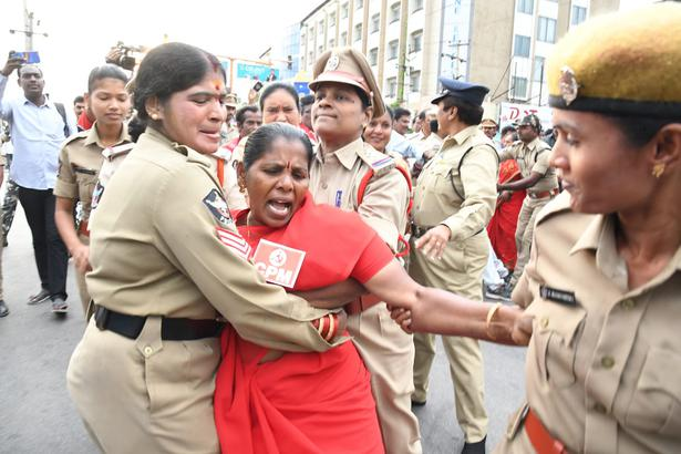 A CPI(M) member being arrested in Tirupati during protest against soaring fuel prices, on Monday.