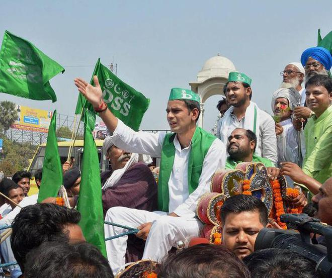 Open to all: Bihar Health Minister Tej Pratap Yadav takes out an all-religion rally in Patna on Sunday.
