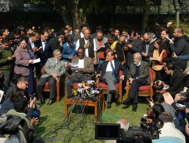 "Supreme Court Judges (from left) Justices Kurian Joseph, Jasti Chelameswar, Ranjan Gogoi and Madan B. Lokur address an unprecedented press conference to complain about the Chief Justice of India's ""selective assignment of cases"" on January 12, 2018."