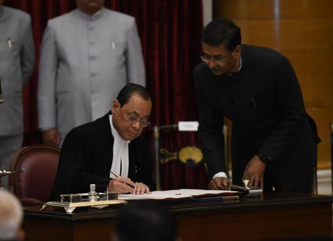 Justice Ranjan Gogoi after being sworn in as the 46th Chief Justice of India at Rashtrapathi Bhavan, New Delhi, October 3, 2018