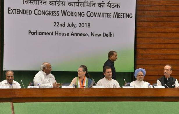 Congress President Rahul Gandhi, senior Congress leaders A.K. Anthony, Mallikarjun Kharge, Sonia Gandhi, Manmohan Singh and Ghulam Nabi Azad at the Congress Working Committee in New Delhi on Sunday.