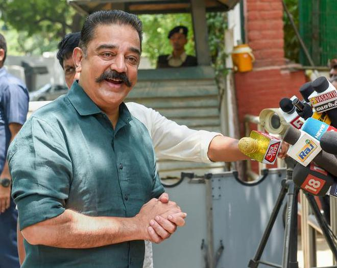 Actor and Makkal Needhi Maiam president, Kamal Haasan addresses the media after meeting UPA Chairperson Sonia Gandhi, in New Delhi on Thursday, June 21, 2018.
