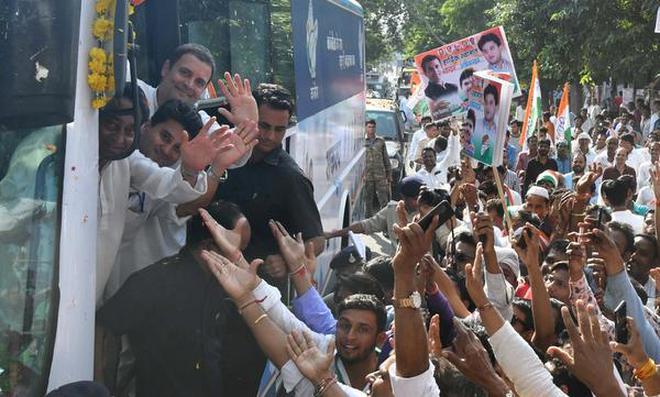राहुल गांधी रोड शो मप्र