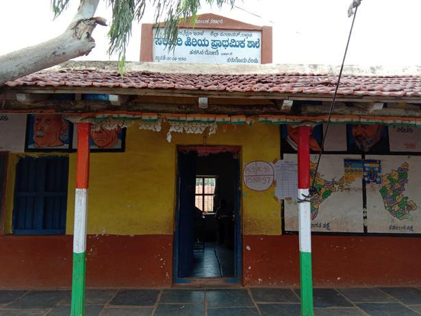 A deserted polling booth in Haraginadoni in Bellary taluk, Karnataka on Saturday.