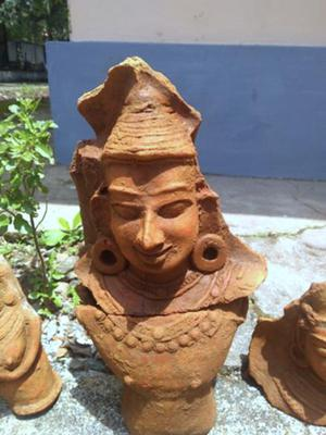 A terracotta figurine of a man's bust unearthed from the banks of the Pampa at Edayaranmula.