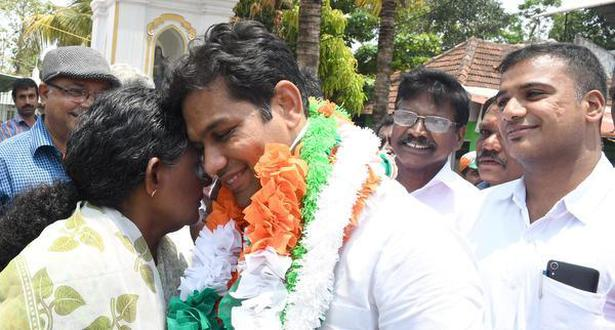 UDF candidate Hibi Eden being received by his supporters at Njarakkal
