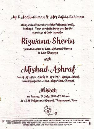 Seed Embedded Wedding Invite Goes Viral The Hindu