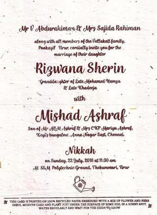 Seed Embedded Wedding Invite Goes Viral The Hindu