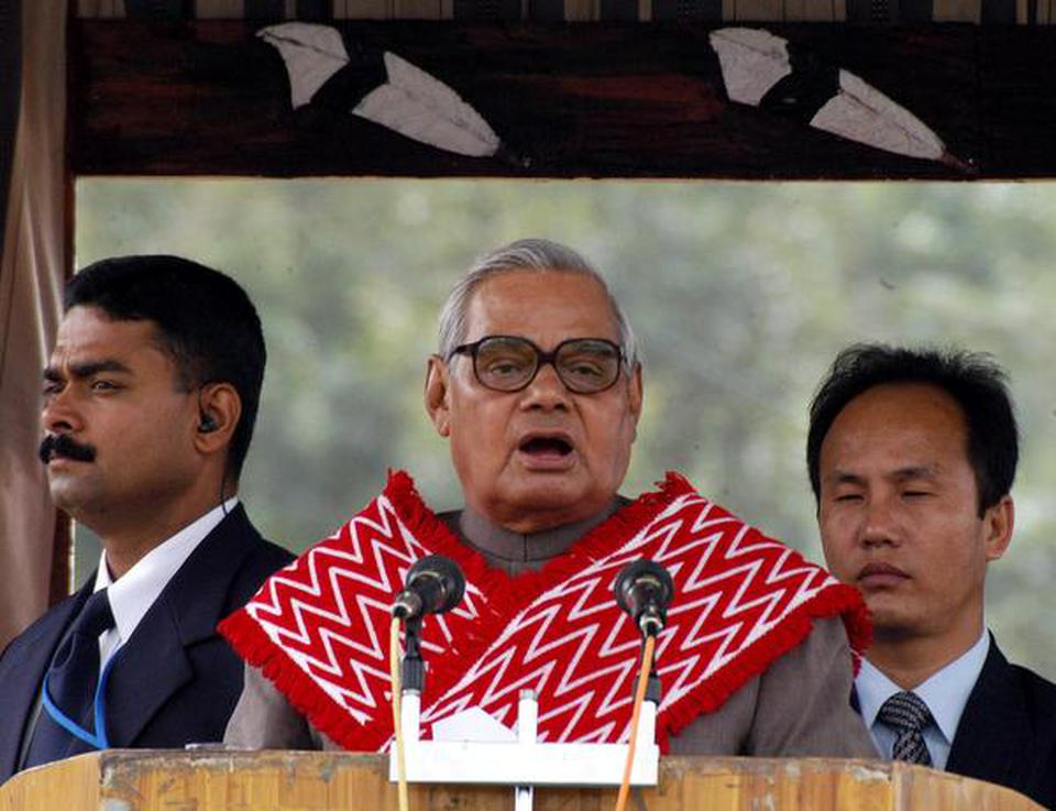 In this October 28, 2003 file picture, the then Prime Minister Atal Bihari Vajpayee, dressed in traditional Naga dress, addressing a public meeting in Kohima, Nagaland.