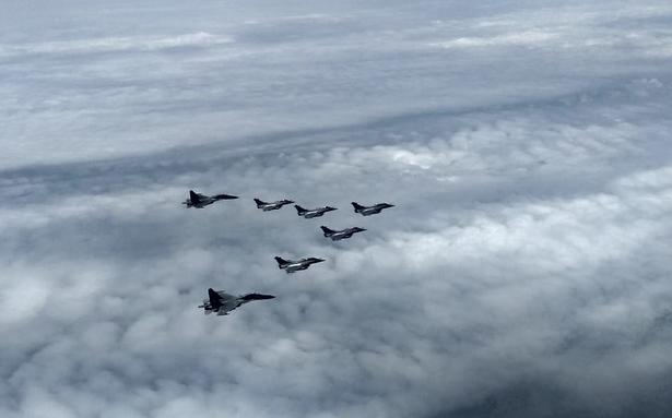 The Rafale jets being escorted by Sukhoi 30 MKIs at India's airspace.