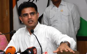 Sachin Pilot addresses press conference in Jaipur, Hail storm and rain in Delhi, and other news in pictures