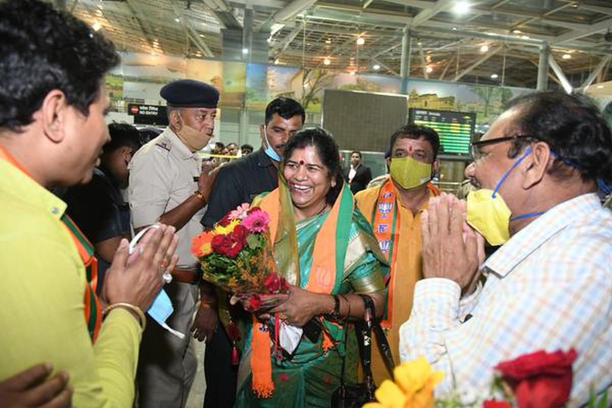 Imarti Devi, who was the Woman and Child Development Minister in the Kamal Nath Cabinet, arrives in Bhopal from New Delhi on March 21, 2020.