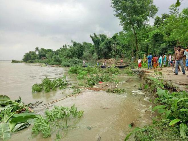 River bank erosion at Hossainpur in Murshidabad district.
