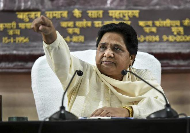 BSP supremo Mayawati addresses a press conference in Lucknow on September 16, 2018.