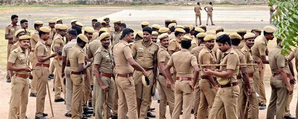 Police personnel were deployed at SAV grounds in Thoothukudi on Monday for anti-Sterlite protests.