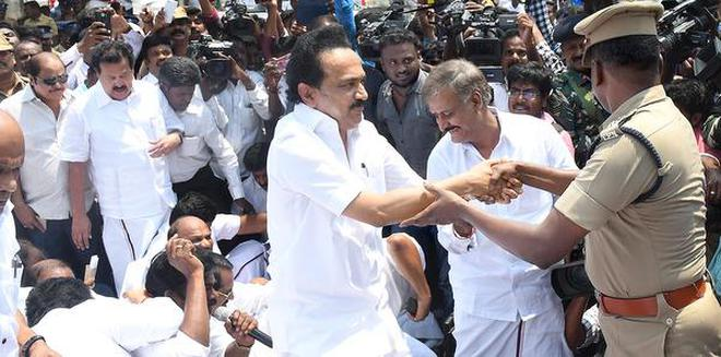 Protests greet ram rajya rath yatra in tamil nadu the hindu taking to the streets dmk working president mk stalin courting arrest over the ram rajya thecheapjerseys Gallery