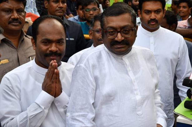 Sri Lankan Tamil Ministers Arumuga Thondaiman and Senthil Thondaiman during their visit to Kavery Hospital where DMK president M. Karunanidhi was admitted, in Chennai on July 30, 2018.