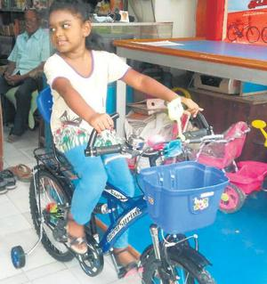 Hot wheels: Anupriya with her bicycle on Monday.