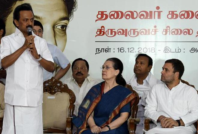 DMK President M.K Stalin; Congress leader Sonia Gandhi, and Congress President Rahul Gandhi at the unveiling of a statue of former Chief Minister M. Karunanidhi at the DMK Party's Headquarters in Chennai on Sunday.
