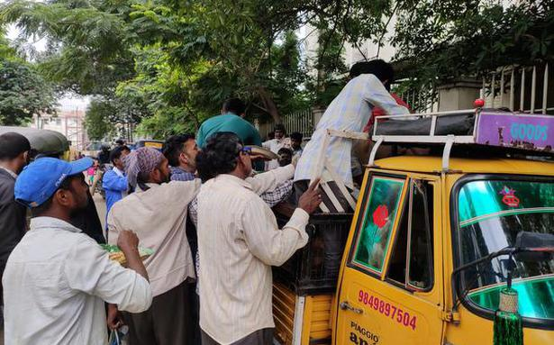 Desperate rush for food packets outside Niloufer