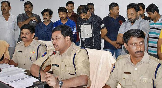 Partners in crime: Nalgonda Superintendent of Police A.V. Ranganath producing the accused in the Pranay murder case before the media on Tuesday.