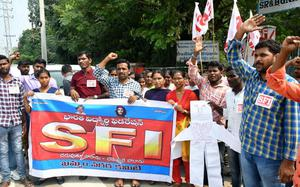 SFI activists protest in support of JNU students