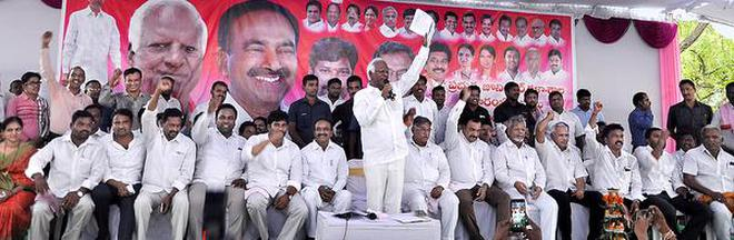 Minister for Education Kadiyam Srihari addressing a gathering after inaugurating government junior college building in Julapalli mandal of Peddapalli district on Tuesday.