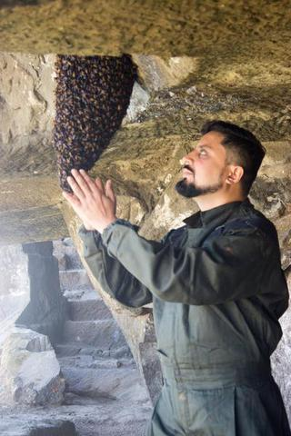 Amit Godse, founder of Bee Basket relocating a beehive