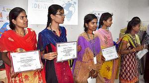Sai Baba college girls' idea on reusing plastic waste wins award