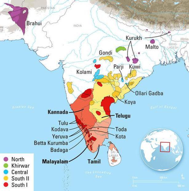 Dravidian language family is 4,500 years old: study - The Hindu on kerala political map, kerala road map, karnataka tourism map,
