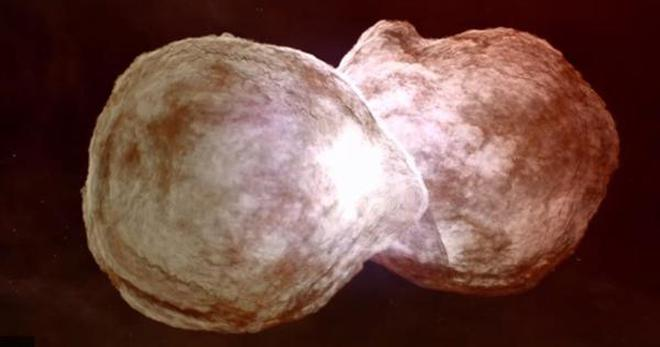 The system contains a pair of massive stars whose eccentric orbits bring them close every 5.5 years.