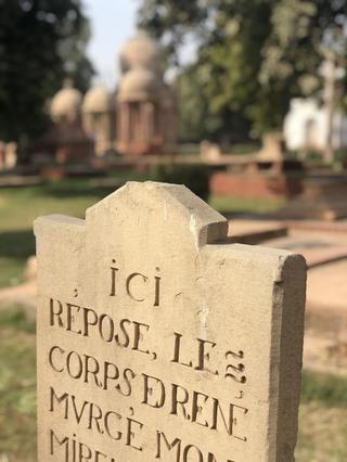 A tombstone in the 400-year-old Roman Catholic cemetery