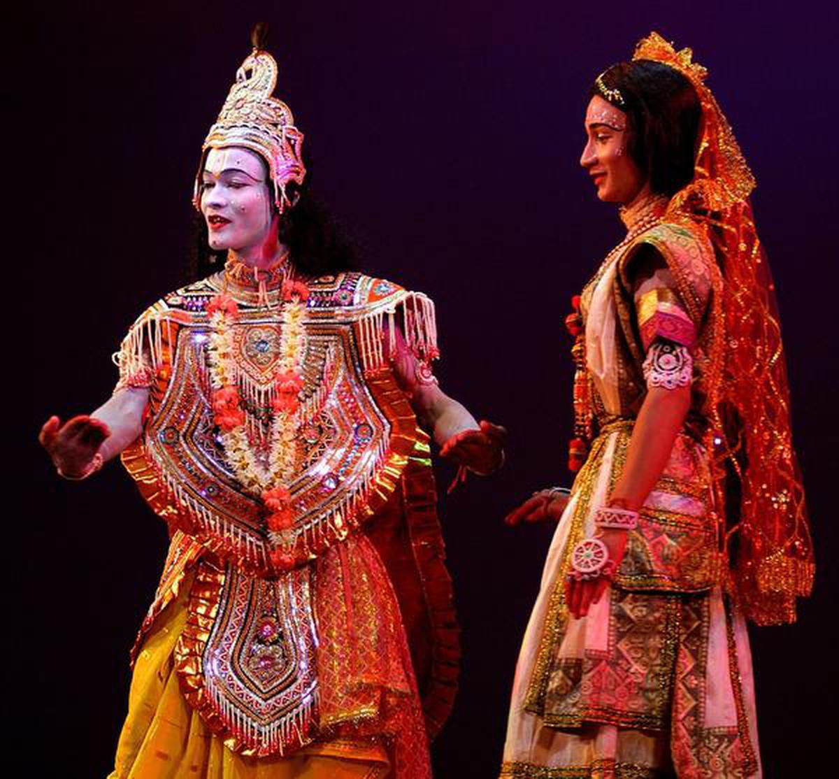 Artists from Majuli island performing their traditional age old dance drama to promote Majuli as World's largest fresh water river-island in Guwahati on September 24, 2006. The people and artists have come out in a great way to show their rich cultural heritage to rest of the world to acquire the UNESCO's World Heritage Site nomination. Majuli, did not make it to the list of UNESCO World Heritage Sites this year as the Assam Government failed to pass the Majuli Cultural Landscape Region Bill 2006 ahead of the ongoing 30th session of the World Heritage Committee at Lithuanian capital of Vilnius. Sociologists have stressed on the preservation of this unique art form and the people of the island whose culture and dance forms are untouched by modernism. Majuli Island, with a population of 1.6 lakhs is situated right in the middle of the Brahmaputra River. Photo: Ritu Raj Konwar