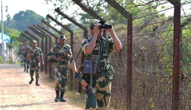 Border Security Force jawans are seen patrolling along Indo-Bangladesh border