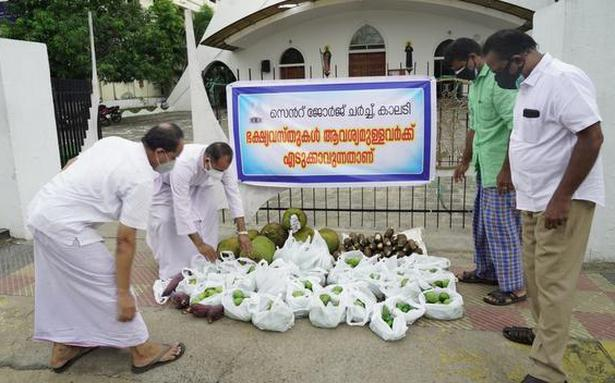 St George Church at Kalady in Kerala is giving away fresh produce for free