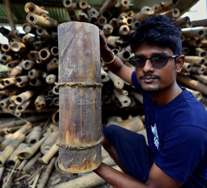 a5909adbf1 Gaurav Borah shows the bamboo variety used to make their organic products.