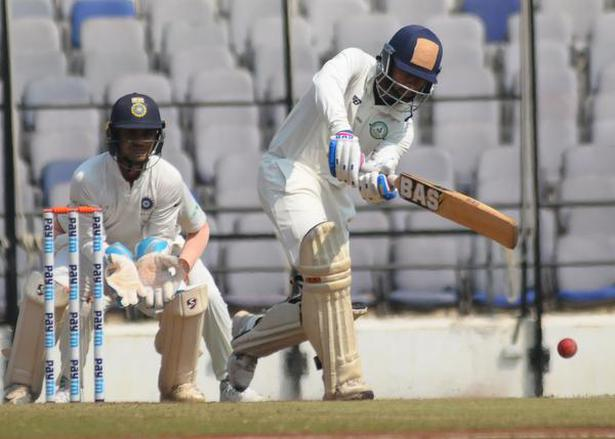Vidarbha's Atharva Taide plays a shot during the Irani Trophy match against Rest of India in Nagpur on February 16, 2019.