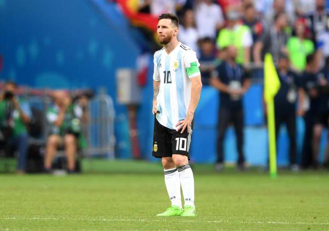 Argentinas Lionel Messi Looks Dejected Following His Teams Defeat Against France During The Fifa World Cup