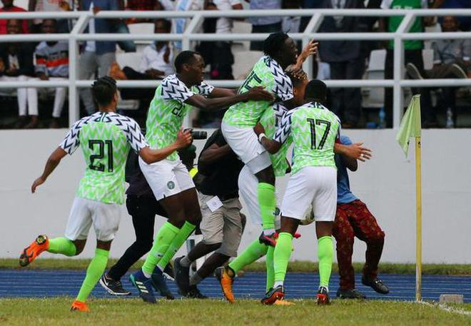 Nigeria team celebrates during an international friendly against DR Congo.