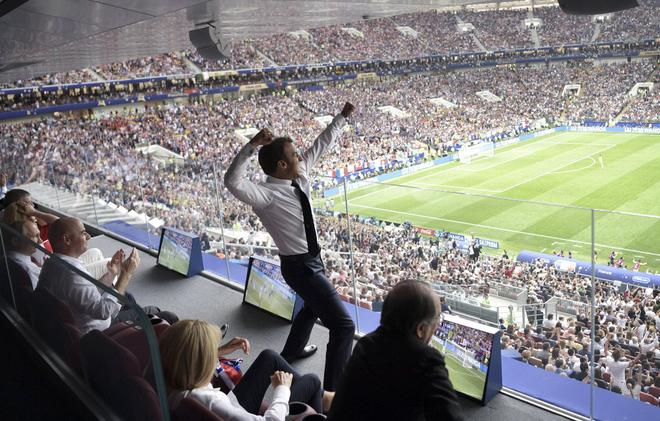 Fifa world cup 2018 france brings it home after 20 years the hindu french president emmanuel macron reacts during the final match between france and croatia at the 2018 fandeluxe Choice Image