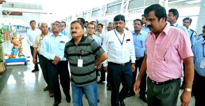 Welcome makeover:Airports Authority of India Chairman Guruprasad Mohapatra inspecting the integrated terminal at the Tirupati international airport on Sunday.