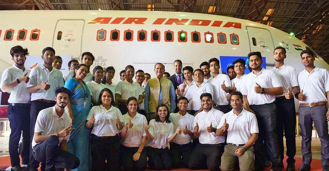 Wings of desire:The students of apprenticeship programme pose for a photograph with Civil Aviation Minister Jayant Sinha at Air India hangar, Kalina, on Thursday.Soubir Ghosh
