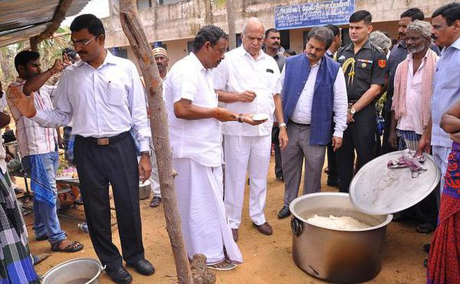 Assessing damage:The Governor at a relief centre in Nagapattinam district on Wednesday.Special Arrangement