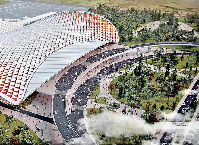 The design of the proposed new passenger terminal building to come up at Tiruchi international airport.HANDOUT